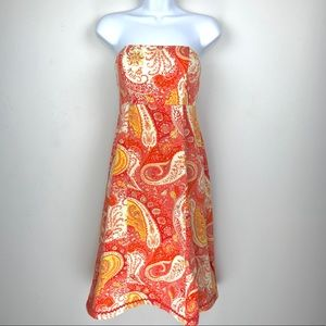 Moda Paisley Sun Strapless Midi Dress Sz. 8